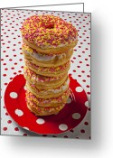 Plates Greeting Cards - Tall stack of donuts Greeting Card by Garry Gay