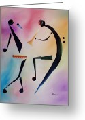 Jamming Painting Greeting Cards - Tambourine Jam Greeting Card by Ikahl Beckford