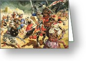 Fighting Painting Greeting Cards - Tamerlane The Terrible Greeting Card by CL Doughty