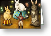 Easter Greeting Cards - Taming Of The Giant Bunnies Greeting Card by Leah Saulnier The Painting Maniac