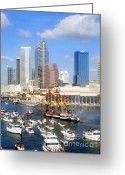 Pirate Ship Greeting Cards - Tampas Flag Ship Greeting Card by David Lee Thompson