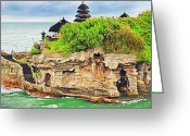 Offshore Greeting Cards - Tanah Lot Greeting Card by MotHaiBaPhoto Prints