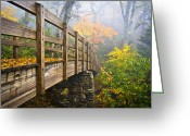 Path Greeting Cards - Tanawha Trail Foot Bridge - Rough Ridge Autumn Foliage NC Greeting Card by Dave Allen