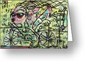 Lowbrow Mixed Media Greeting Cards - Tandem Greeting Card by Robert Wolverton Jr