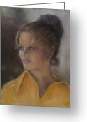 Beautiful Woman Greeting Cards - Tangerine Greeting Card by Evie Cook