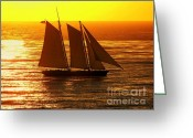 Sailing Ships Greeting Cards - Tangerine Sails Greeting Card by Karen Wiles