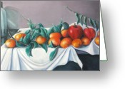 Tangerines Greeting Cards - Tangerines And Apples Greeting Card by Eileen Kasprick