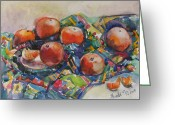 Tangerines Greeting Cards - Tangerines Greeting Card by Juliya Zhukova