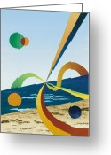 One Point Perspective Greeting Cards - Tangers  Greeting Card by Eliot LeBow
