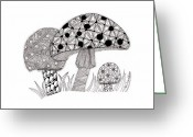 Paula Dickerhoff Greeting Cards - Tangled Mushrooms Greeting Card by Paula Dickerhoff
