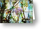 Exotic Tree Flowers Greeting Cards - Tangled Wisteria Greeting Card by Andee Photography