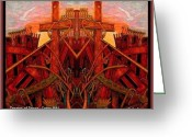 Thought-provoking Mixed Media Greeting Cards - Tangles of Terror Cross Nine Eleven  Greeting Card by Ray Tapajna