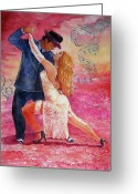 Retratos Greeting Cards - Tango Greeting Card by Estela Robles