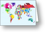 Shapes Greeting Cards - Tangram Abstract World Map Greeting Card by Michael Tompsett