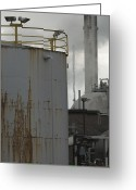 Pollute Greeting Cards - Tank At Industrial Plant Greeting Card by Iain Sarjeant
