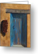 Southwestern Greeting Cards - Taos Blue Door Greeting Card by Jack Atkins