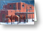 Taos Pueblo Greeting Cards - Taos Horses Greeting Card by Randy Follis