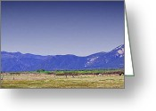 Mountains New Mexico Greeting Cards - Taos Landscape Greeting Card by David Patterson