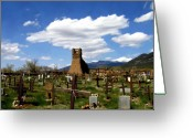 Graveyards Greeting Cards - Taos pueblo cemetery Greeting Card by Kurt Van Wagner