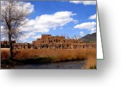 Taos Pueblo Greeting Cards - Taos pueblo early spring Greeting Card by Kurt Van Wagner