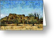 Taos Mixed Media Greeting Cards - Taos Pueblo Greeting Card by Elaine Frink