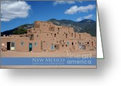 Taos Pueblo Greeting Cards - Taos Pueblo Greeting Card by Heidi Hermes