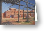 Hopi Greeting Cards - Taos Pueblo Greeting Card by Jerry McElroy
