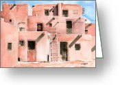 Pueblos Greeting Cards - Taos Pueblo New Mexico Greeting Card by Arline Wagner