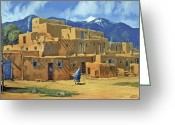 Aztec Greeting Cards - Taos Pueblo Greeting Card by Randy Follis