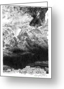 Taos Drawings Greeting Cards - Taos Storm Greeting Card by Gary Gackstatter