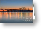 North America Greeting Cards - Tappan Zee Bridge after Sunset II Greeting Card by Clarence Holmes
