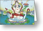 Iconography Painting Greeting Cards - Tara Protecting against Poisons and Naga-related diseases Greeting Card by Carmen Mensink