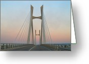 Marking Photo Greeting Cards - Tarascon-beaucaire Bridge At Dusk Greeting Card by Michael Grabois
