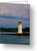 Eire Greeting Cards - Tarbert Lighthouse Greeting Card by Gabriela Insuratelu