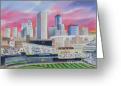 Deb Ronglien Watercolor Greeting Cards - Target Field Greeting Card by Deborah Ronglien