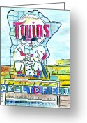 Twins Greeting Cards - Target Field  Greeting Card by Matt Gaudian
