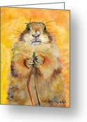 Prairie Dog Greeting Cards - Target Greeting Card by Pat Saunders-White