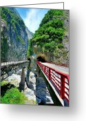 Yellow Line Greeting Cards - Taroko Gorge Greeting Card by Photography By Anthony Ko