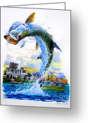 Puerto Rico Greeting Cards - Tarpon leap Greeting Card by Carey Chen