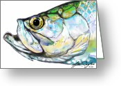 Impressionist Digital Art Greeting Cards - Tarpon Portrait Greeting Card by Mike Savlen