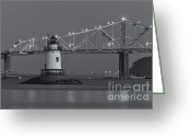 Point Park Greeting Cards - Tarrytown Lighthouse and Tappan Zee Bridge at Twilight II Greeting Card by Clarence Holmes