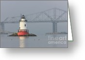 Point Park Greeting Cards - Tarrytown Lighthouse and Tappan Zee Bridge I Greeting Card by Clarence Holmes