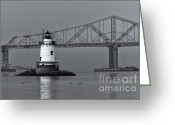 Point Park Greeting Cards - Tarrytown Lighthouse and Tappan Zee Bridge VIII Greeting Card by Clarence Holmes