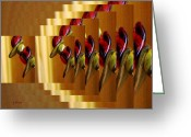 Olive Wood Glass Art Greeting Cards - Tartan Beads Greeting Card by Gretchen Wrede