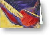 Tropical Beach Painting Greeting Cards - Taryns Hammock Greeting Card by Lois Romei Schlowsky