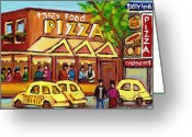Montreal Hockey Art Greeting Cards - Tasty Food Pizza On Decarie Blvd Greeting Card by Carole Spandau
