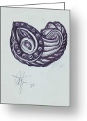Central Drawings Greeting Cards - Tatoo 08 Greeting Card by Xole