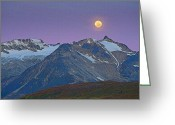 Moon Set Digital Art Greeting Cards - Tatshenshini Moonset- Abstract Greeting Card by Tim Grams