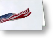 Dismal Greeting Cards - Tattered Flag Reaching Upward Greeting Card by Wanda Brandon