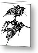 Abstract Design Drawings Greeting Cards - Tattoo Bird Greeting Card by Jera Sky